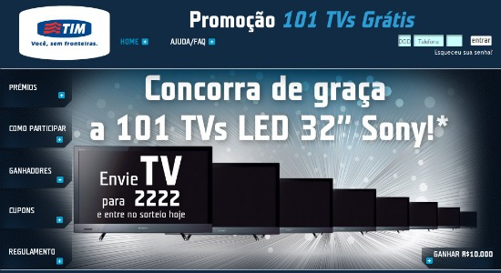 promoção 101 tvs tim